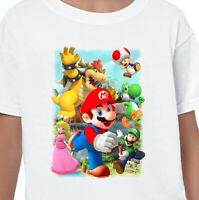 Mario Gang T-Shirt Printed Gift Birthday Boys Gamer Top Gaming Men Yoshi Bowser