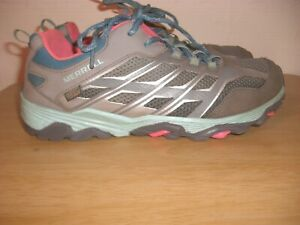 MERRELL M- MOAB WATERPROOF GREY / SILVER / TURQUOISE LACE-UP TRAINER SIZE 5 UK