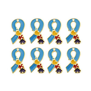 10PCS Multi-Color Enamel Autism Puzzle Webbing Charms Pendant for Jewelry Making