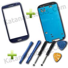 Vitre écran Samsung Galaxy S3 SIII i9300 Bleu avec adhésif et Outils