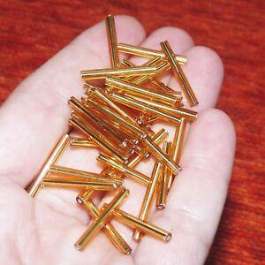 50pcs Czech Glass Bugle Tube Beads Long 20mm Spacer Beading Supplies Gold Tone