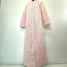 Vintage 1960s Sears At Home Wear Robe size M Pink Satin Quilted Embroidered PJ