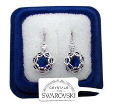 F/SW3 Fiori pendenti Orecchini donna pl. oro bianco 18K cristalli swarovski  blu