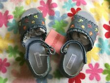 New Gymboree Girls Bonjour Provence Line Denim Wedge Sandals Size 13