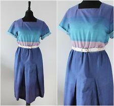 Vintage 1970s Midi Dress Retro Blue Casual Boho Chic Spray Paint Effect Dress 10
