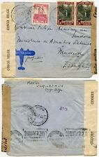 BELGIAN CONGO WW2 DOUBLE CENSORED to SPAIN MADRID GOVT TAPE AIRMAIL 1941