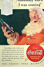 Merry Christmas Advertising COCA-COLA Ad 5 CENTS w SANTA CLAUS 1940 Matted