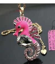 Betsey Johnson Necklace SEAHORSE HOT Pink Gold CRYSTALS OCEAN Summer