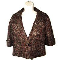 Semantiks Tweed Blazer Women's XS Retro 60`s look Collared Brown Wool-Blend