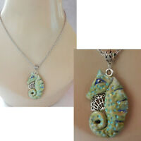 Seahorse Necklace Pendant Jewelry Handmade Sculpted NEW Clay Silver Shells