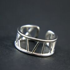 GENUINE 925 Sterling Silver Roman Numerals Open Wide Band Ring UK New