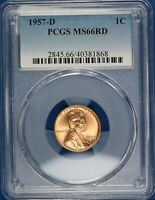 1957-D Lincoln Wheat Cent PCGS MS66RD BK149/BR
