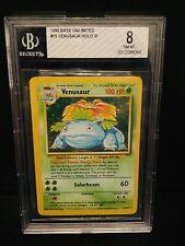 Pokemon Card BGS 8 Venusaur Holo Base Set Near Mint - Mint PSA
