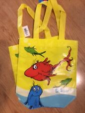 """One Fish Two fish Blue Fish Dr. Seuss Reusable Tote Bag 10x10"""" Yellow Handles"""