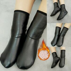 Unisex Autumn Winter Warm Leather Thermal Boot Water Proof Slipper Indoor House