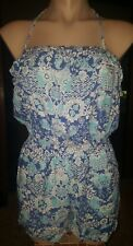 WOMENS Sz 10 blue & white GIRL XPRESS floral playsuit LOVELY! BIRDS!