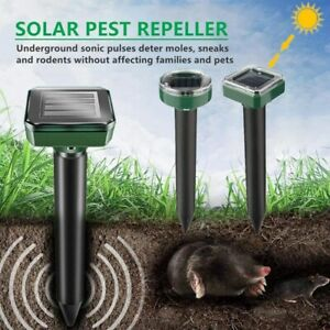 2/4 Pack Solar Power Ultrasonic Mice Gopher Mole Pest Snake Repellent Repeller