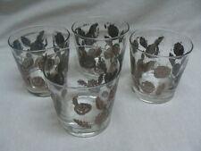 5 Vintage Libbey Rock Old Fashioned Glasses Engraved Silver Roses & Leaves