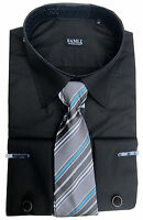 Mens Shirt &Tie With Cufflinks by Samli Long Sleeved S,M,L,XL,XXL,3XL,4XL,5XL