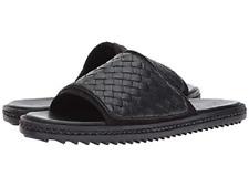 Tommy Bahama Men's Shore Crest Sz US 14 D Black Leather Slides Sandals