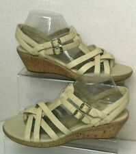 Timberland Earthkeepers Danforth Womens UK 8 Beige Leather Wedge Sandals C288