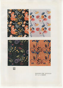 Antique 1920 - Studio Print - Designs For Textiles By E O Hoppe