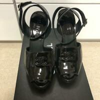 Auth CHANEL CC Logo Heel Sandals Black Patent Leahte Size 38 Used from Japan F/S
