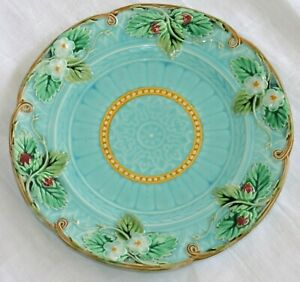 French Majolica Plate Sarreguemines with Strawberries