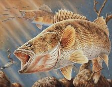 WALLEYE FISH FISHING   MOUSE PAD  IMAGE FABRIC TOP RUBBER BACKED