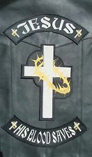 Jesus His Blood Saves - Christian MC / MM  Vest, Jacket Biker Center Patch