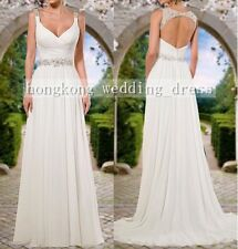 Custom White/Ivory Backless Chiffon Beach Wedding Dress Bridal Gown Deb Ball