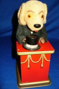 VINTAGE JAPANESE TIN WIND-UP ALPS TRIKSIE DOG MAGICIAN MAGIC TRICK WORKS TOY OLD