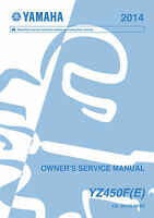 Yamaha YZ 450 F, FE, 2014 Owners Service Repair Manual Free Shipping