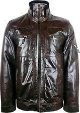 UNICORN Mens Short Glazed Brown Real Leather Jacket #G1