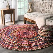 "Natural Braided Round Cotton Chindi 8x8""Area Rag Rug Floors Woven Fabric Rug"