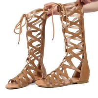 Women's Gladiator Knee High Cut Out Sandals Flat Strappy Boots Open Toe Shoes#