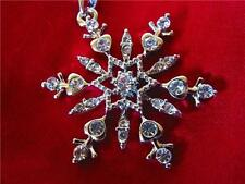 Crystal Snowflake Winter NECKLACE Star Holiday White Gold Plated
