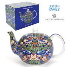WILLIAM MORRIS Teapot Fine China STRAWBERRY THIEF BLUE GIFT BOX Tea Gold UK