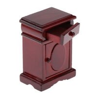 Dollhouse Miniature Wooden Nightstand Side Table with Drawer 1:12 Scale