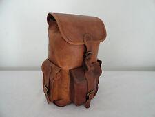 "13"" High Real Brown Leather Backpack Hiking Rucksack Shoulder Bag Eco-Friendly"