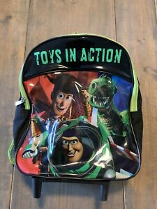 "Disney Pixar Toy Story Toys In Action Round Zipper 13"" Backpack With Wheels"