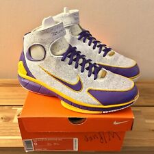 2007 NIKE ZOOM HUARACHE 2K4 KB KOBE LASER LAKERS VARSITY PURPLE/CANYON GOLD SZ 9