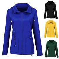 Womens Long Sleeve Hooded Coat Jacket Outdoor Waterproof Raincoat Windbreaker