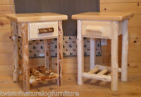 Log end table/ night stand Space Saver Top Quality!!  Rustic Log Furniture