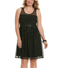 LANE BRYANT WOMEN'S PLUS SIZE BLACK SLEEVELESS SEQUIN PARTY LINED DRESS Sz 22