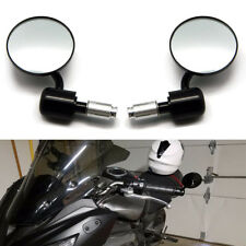 "Pair Black Motorcycle 3"" Round Mount 7/8 Or 1 Inch Bar End Rearview Side Mirrors"