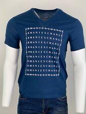 Armani Exchange Authentic Multi Logo V Neck Regular Fit T Shirt Blue NWT