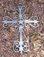 WESTERN ORNAMENTAL CROSS METAL WALL ART DECOR SILVER