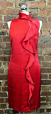 Reiss Women's Lola Ruffle Front Dress China Red Size 8 BNWT RRP£190 Cocktail
