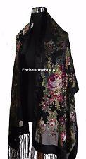 Elegant Black Vintage Floral 100% Silk Burnout Velvet Oblong Shawl Wrap Scarf